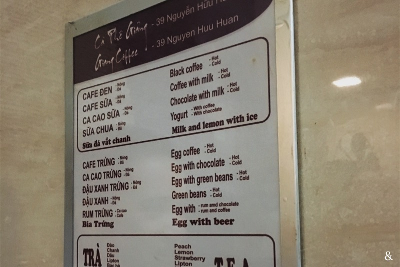 Cafe Giang Menu