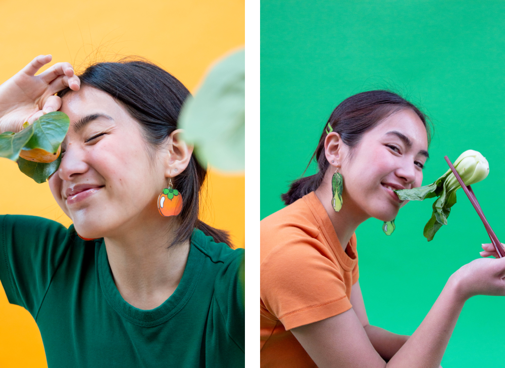 tiffuneemart's Persimmon and Bok Choy earrings modelled by @linayen and photographed by @vibrantventurer