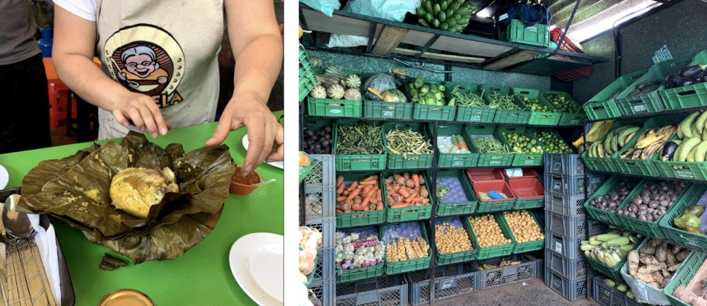 Left image shows a person handling food. Image on right includes baskets stacked in rows with various produce.