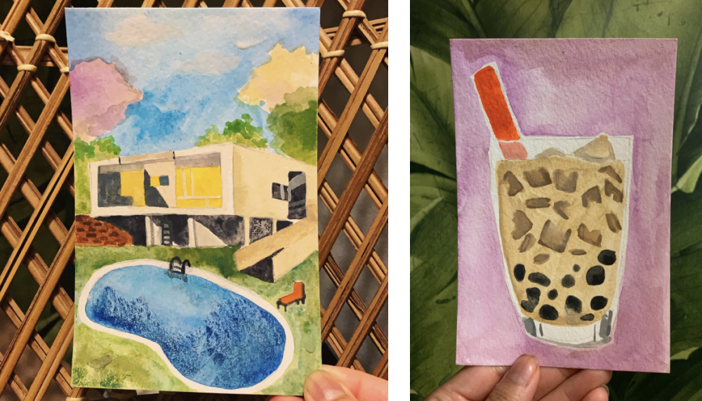 Watercolor paintings by Dana Lee. The left shows a house with a swimming pool in front. The right shows a bubble milk tea on a pink background.