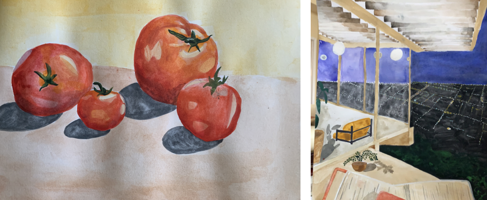 Dana Lee's watercolor paintings. On the left shows four tomatoes and the right is a painting inspired by a Julias Shulman photo.