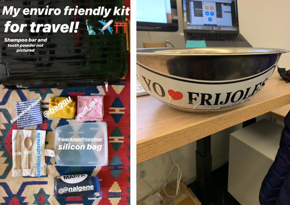 """Two images of Dana's personal ways to travel more environmentally friendly. The right photo shows a metal bowl with the sticker """"Yo heart frijoles""""."""
